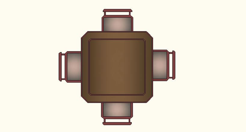 imagen Mesa 4 lugares, en Mesas 2d - Muebles equipamiento