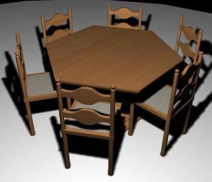 imagen Mesa comedor hexagonal, en Mesas y juegos de comedor 3d - Muebles equipamiento