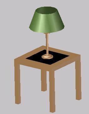 Planos de Mesa con lampara en Luminarias  Muebles equipamiento