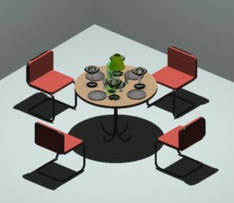 imagen Mesa para 4 3d, en Mesas y juegos de comedor 3d - Muebles equipamiento
