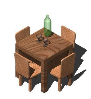 Planos de mesa y sillas de sal n con botella y dos copas en mesas y juegos de comedor 3d - Mesas y sillas de salon ...