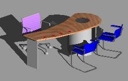 imagen Mesa y sillas para despachos 3d, en Oficinas y laboratorios - Muebles equipamiento
