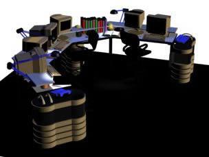 imagen Mesada escritorio para estacion de trabajo multiple - central de monitoreo o recepcion, en Escritorios - Muebles equipamiento