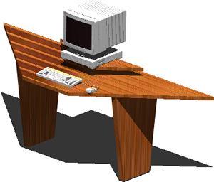 imagen Meson de computador 3d con materiales aplicados, en Escritorios - Muebles equipamiento