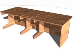 imagen Mesón de trabajo en 3d, en Escritorios - Muebles equipamiento