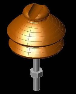 imagen Modelo 3d de aislador tipo alfiler