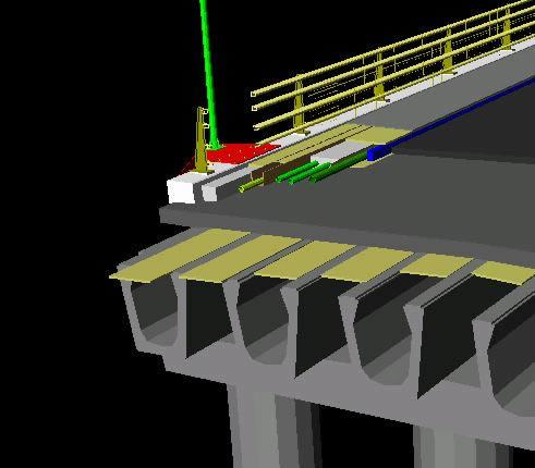 imagen Modelo 3d de puente de vigas e instalaciones, en Hormigón armado - Detalles constructivos