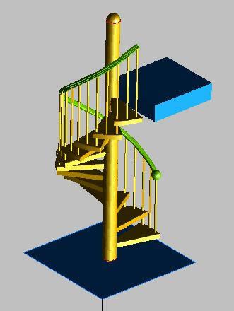 imagen Modelo de una escalera en forma de caracol 3d, en Modelos de escaleras 3d - Escaleras