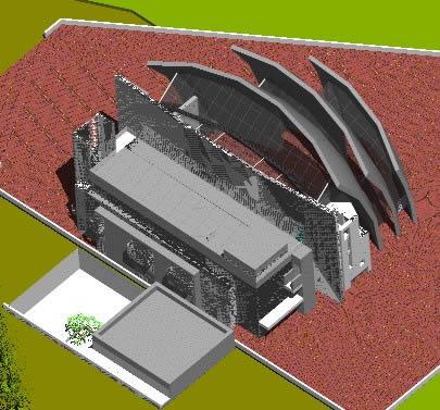 imagen Modelo en 3d de la iglesia de meier en roma, en Italia - Diseño urbano