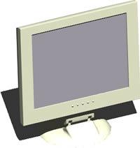 imagen Monitor plano 3d con materiales, en Informática - Muebles equipamiento