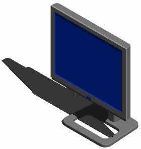 imagen Monitor plano en 3d, en Informática - Muebles equipamiento
