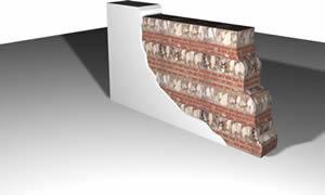 imagen Muro mixto piedra y ladrillo colonial, en Muros de ladrillos - Detalles constructivos