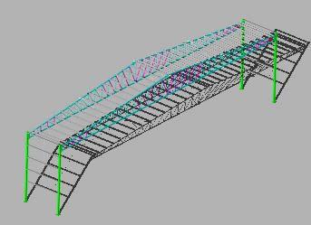 imagen Paño intermedio de nave de estructura metálica en 3-d, en Estructuras de acero - Detalles constructivos