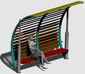 imagen Paradas de autobus 3d, en Transferencia peatón - vehículo paradores - Equipamiento urbano