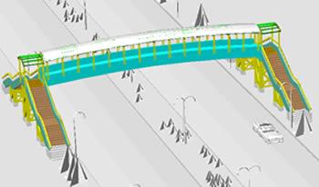 imagen Pasarela peatonal 3d, en Puentes - Obras viales - diques