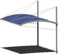 imagen Pensilina - marquesina 3d, en Cubiertas de acero y vidrio - Sistemas constructivos
