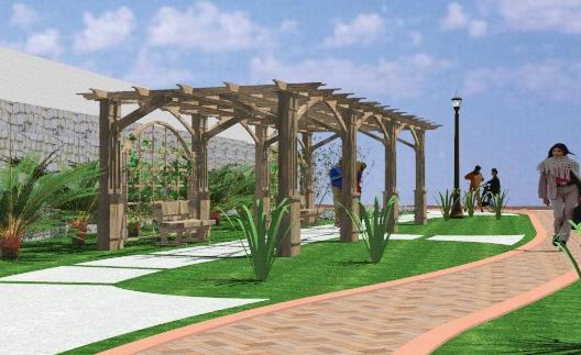 imagen Pergolado 3d, en Pérgolas fuentes y elementos decorativos - Parques paseos y jardines