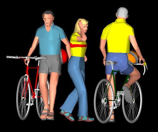 imagen Personas con  bicicletas 3d, en 3d - Personas