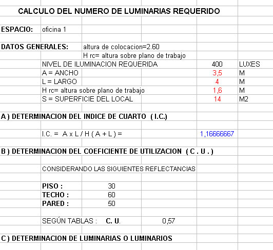 imagen Planilla de calculo de lámparas, en Iluminación - Planillas de cálculo