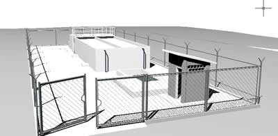 imagen Planta de tratamiento 3d con materiales aplicados, en Saneamiento cloacal y pluvial - Infraestructura