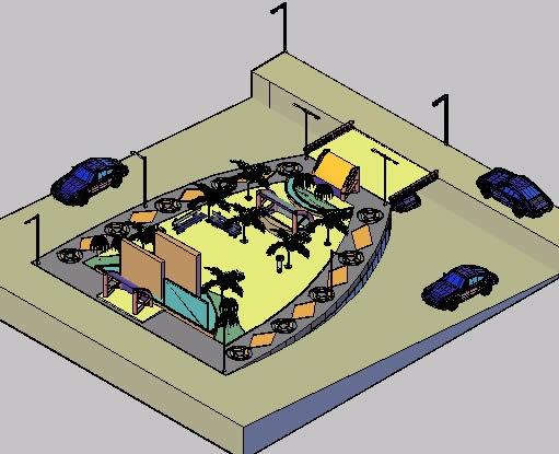 imagen Plaza y parador bus con detalle 3d, en Transferencia peatón - vehículo paradores - Equipamiento urbano