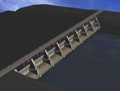 imagen Puente sobre embalse, en Puentes - Obras viales - diques