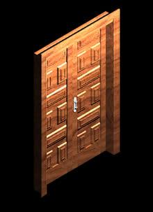 imagen Puerta  3d con materiales aplicados, en Puertas 3d - Aberturas