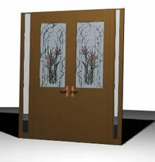 imagen Puerta de ingreso de madera con vitral en 3d, en Puertas 3d - Aberturas