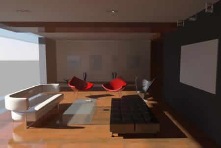 imagen Sala en 3d max, en Vivienda unifamiliar 3d - Proyectos