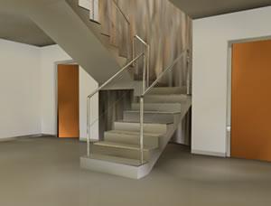 imagen Salon con arranque de escalera, en Modelos de escaleras 3d - Escaleras
