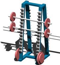 imagen Soporte para barras de pesas, en Equipamiento gimnasios - Deportes y recreación