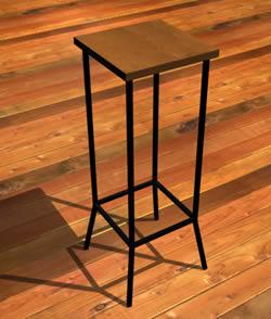 imagen Taburete cuadrado de hierro con cuero, en Butacas - Muebles equipamiento