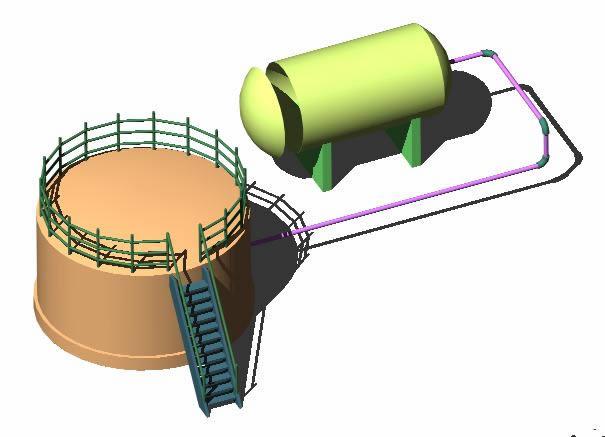 imagen Tanque industrial 3d, en Tanques - Máquinas instalaciones