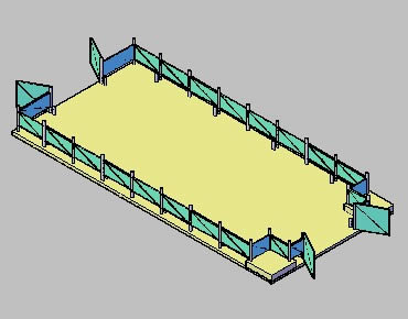 imagen Terraza con cerco de cristal 3d, en Paños acristalados - Aberturas