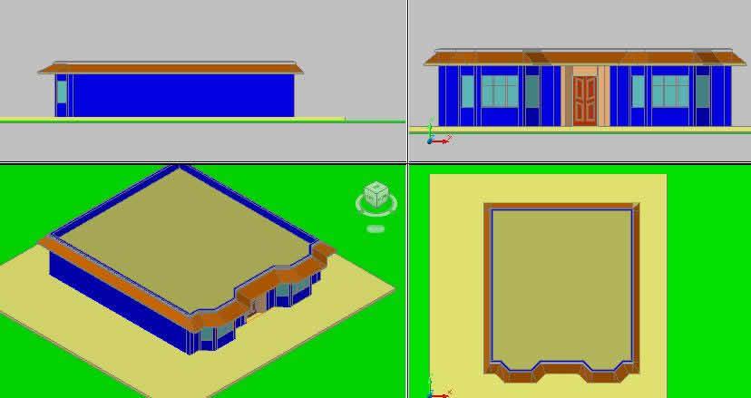 Planos de 3d casa de habitacion en dwg autocad vivienda for Habitacion 3d autocad