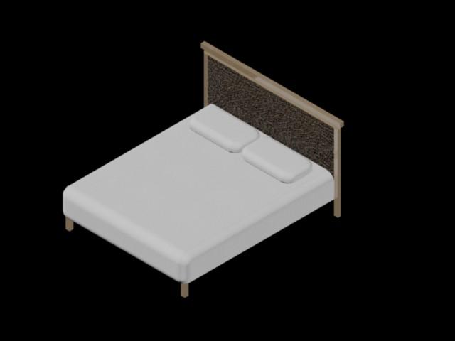 Planos de cama de madera 3d en dwg autocad dormitorios for Cama 3d dibujo