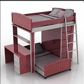 Planos de cama litera 3d en 3ds dormitorios muebles for Cama 3d dibujo