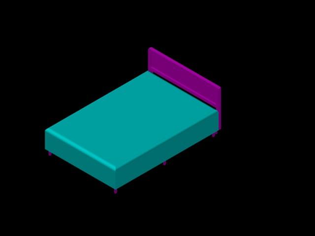 Planos de cama matrimonial 3d en dwg autocad vivienda for Cama 3d dibujo