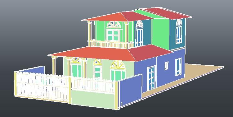 Planos de casa campestre 3d con muebles en dwg autocad for Planos de casas campestres de dos plantas