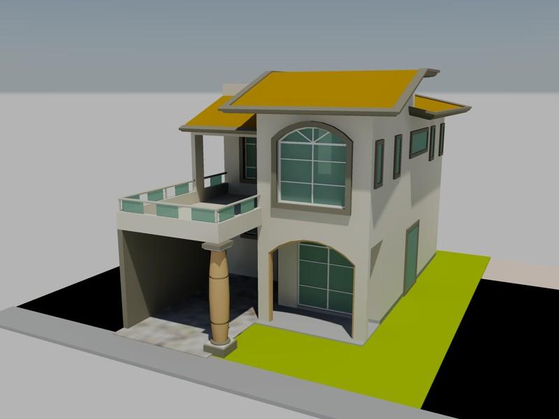 Planos de casa habitaci n en 3d en dwg autocad vivienda for Planos de casa habitacion