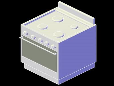 imagen Planos de Cocina 3d en DWG AUTOCAD, Cocinas - Muebles equipamiento
