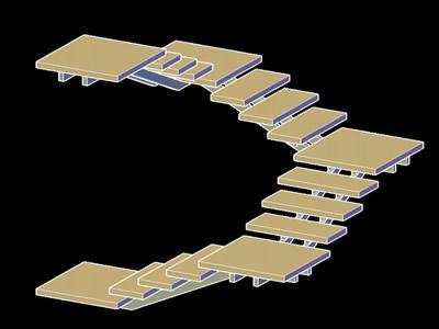 Planos de escalera 3d madera metal en dwg autocad modelos for Planos de escaleras de madera