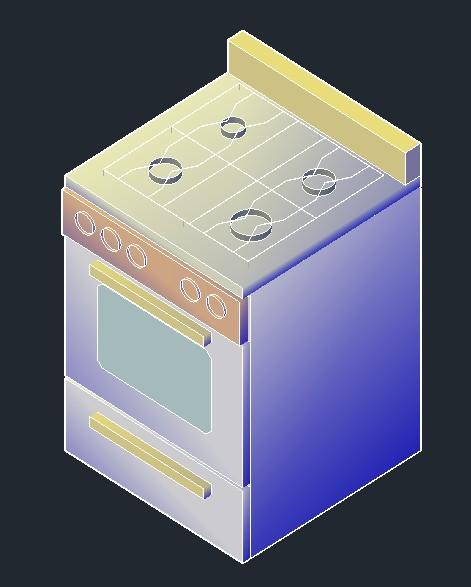planos de estufa cocina 3d en dwg autocad cocinas On muebles de cocina 3d dwg