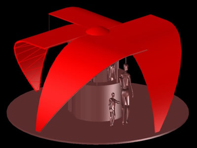 imagen Kiosko para venta 3d en DWG