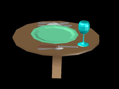 imagen Mesa con cubiertos en DWG