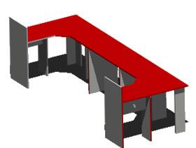 Planos de modulo de oficinas en 3d en dwg autocad for Muebles de oficina 3d autocad