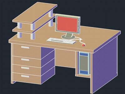 imagen Mueble computadora 3d en DWG