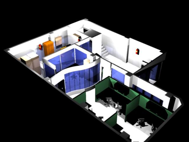 Planos de oficina 3d en dwg autocad oficinas bancos y for Planos de oficinas administrativas