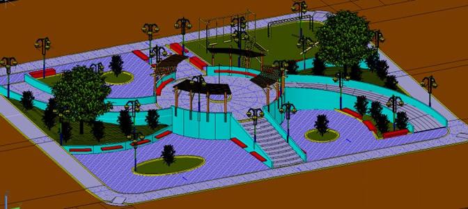 Planos de parque en desnivel 3d en dwg autocad for Modelos de parques y jardines