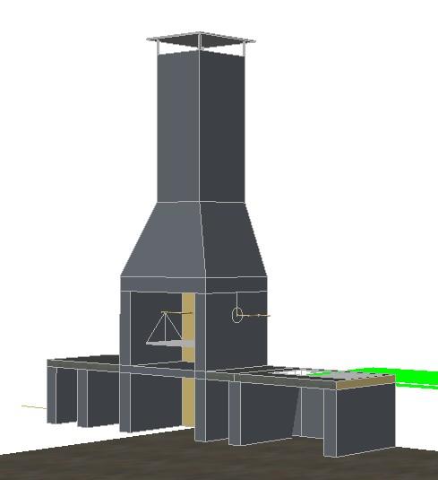 Planos de parrilla asador en 3d en dwg autocad quinchos for Planos de cocinas modernas en autocad